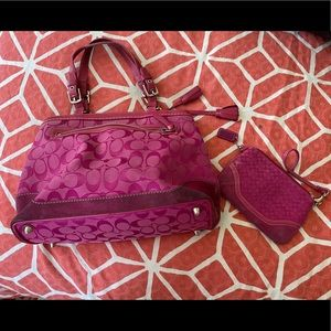 Pink Coach purse AND wristlet